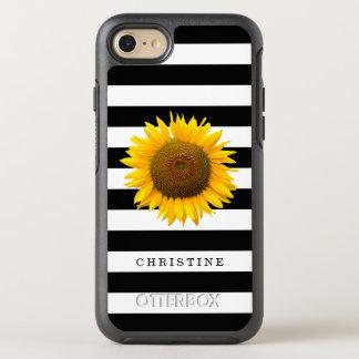 クラシックな白黒のストライプの素朴なヒマワリの名前 オッターボックスシンメトリーiPhone 8/7 ケース