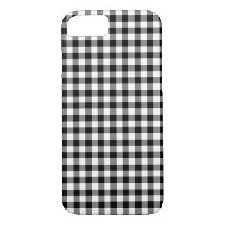 クラシックな白黒ギンガムパターン iPhone 8/7ケース