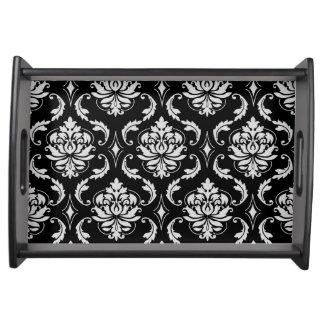 クラシックな白黒花のダマスク織パターン トレー