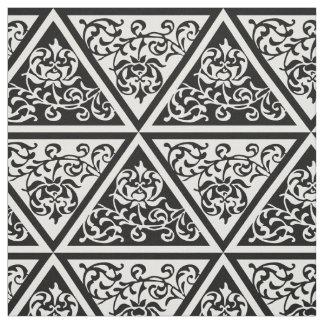 クラシックな白黒Tudorの花柄の三角形 ファブリック