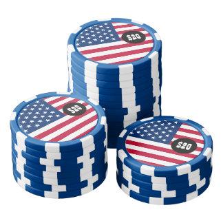 クラシックな米国旗 ポーカーチップ