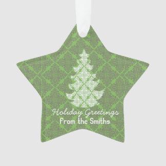 クラシックな緑の休日のダマスク織の木の挨拶 オーナメント