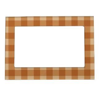 クラシックな茶色の格子縞のチェック模様の布 マグネットフレーム