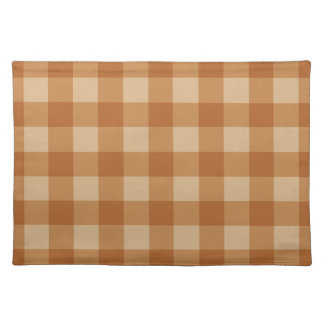 クラシックな茶色の格子縞のチェック模様の布 ランチョンマット