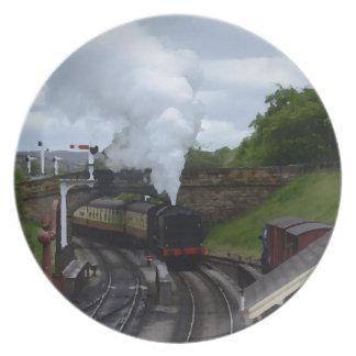クラシックな蒸気の列車 プレート