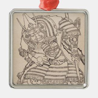 クラシックな装甲武士の戦士のHokusaiのスケッチの芸術 メタルオーナメント