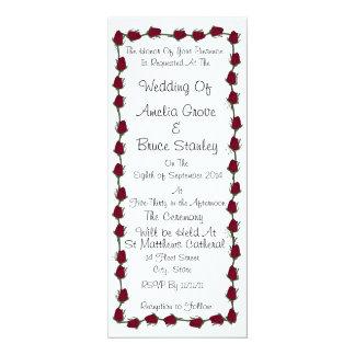 クラシックな赤いバラの結婚式招待状 カード