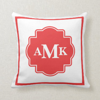 クラシックな赤と白のモノグラムの枕 クッション