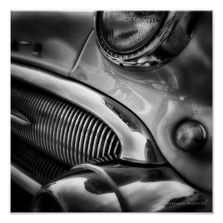 クラシックな車のグリル1の正方形のプリント ポスター