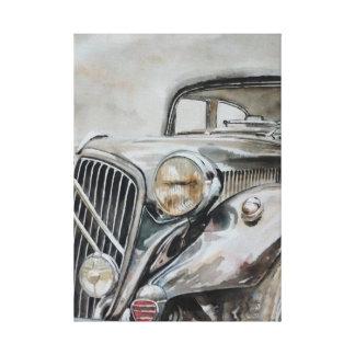 クラシックな車古い女の子 キャンバスプリント