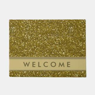 クラシックな金ゴールドのグリッターの一見の歓迎 ドアマット