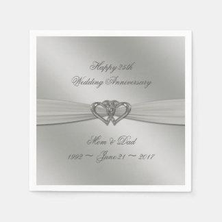 クラシックな銀の第25結婚記念日のナプキン スタンダードカクテルナプキン