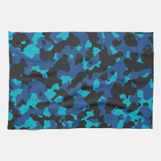 クラシックな青スキューバ青いカムフラージュのプリントPANTONE キッチンタオル