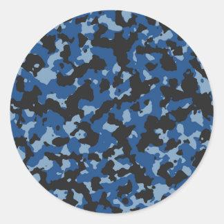クラシックな青薄暗がりの青いカムフラージュパターン ラウンドシール
