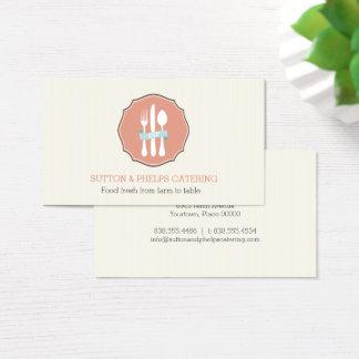 クラシックな食事用器具類のベージュ細い縦縞のプレートのケータリング 名刺