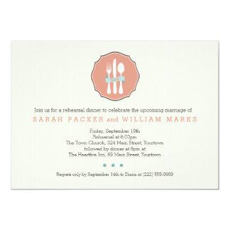 クラシックな食事用器具類のベージュ細い縦縞のリハーサルの夕食 12.7 X 17.8 インビテーションカード