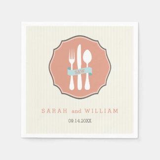 クラシックな食事用器具類のベージュ細い縦縞の夕食 スタンダードカクテルナプキン