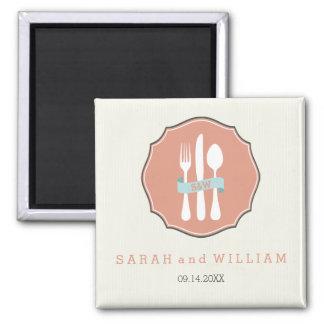 クラシックな食事用器具類のベージュ細い縦縞の夕食 マグネット