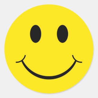 クラシックな70年代の黄色くにこやかで幸せな顔 ラウンドシール