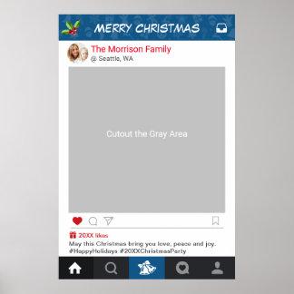 クラシックなInstagramフレームのクリスマス・パーティの写真の支柱 ポスター