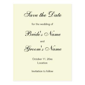 クラシックの保存アイボリーの日付の郵便はがき ポストカード