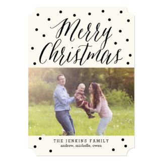 クラシックはクリスマスの休日の写真カードに点を打ちます 12.7 X 17.8 インビテーションカード