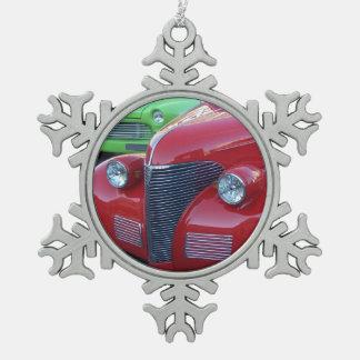 クラシックカーのクリスマスのオーナメント スノーフレークピューターオーナメント