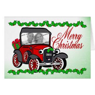 クラシックカーのクリスマスの写真 カード