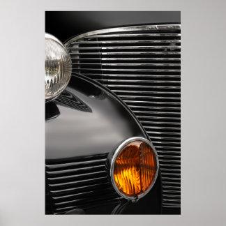 クラシックカーのグリルの抽象芸術 ポスター