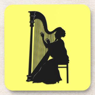 クラシック音楽のハーププレーヤーの正方形のコースター コースター