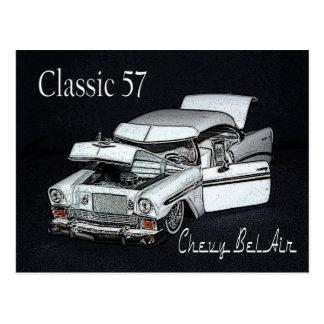 クラシック57のChevy Bel Airの郵便はがき ポストカード