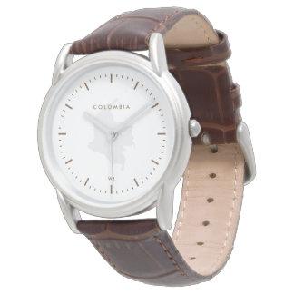 クラシック: ブラウン: コロンビアの地図 腕時計