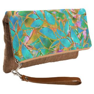 クラッチの花柄の抽象芸術のステンドグラスを折り返して下さい クラッチバッグ