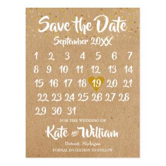 クラフトのスタイルのカレンダーの保存日付 ポストカード