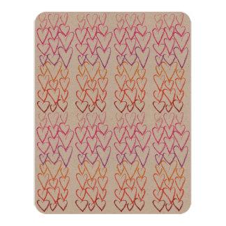 クラフトのバレンタインデーのグラデーションなハートNotecard カード