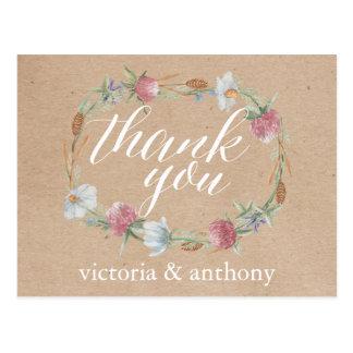 クラフトの国の結婚式の感謝の野生の花のリース ポストカード