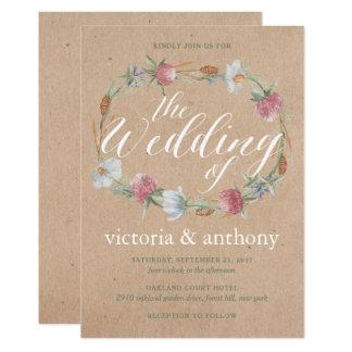 クラフトの国の結婚式の野生の花のリース カード