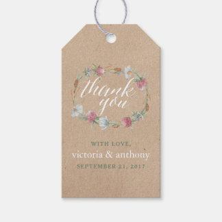 クラフトの国の結婚式の野生の花のリース ギフトタグパック
