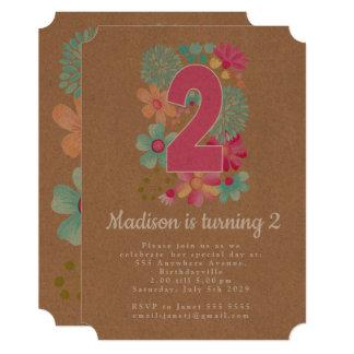 クラフトの女の子の花柄の第2誕生会の招待 カード