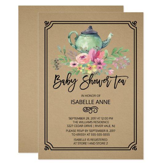 クラフトの水彩画の花のお茶会のベビーシャワー カード