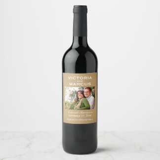 クラフトの結婚式の写真のワイン・ボトルの好意 ワインラベル