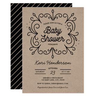 クラフトスクロールベビーシャワーの招待状 カード