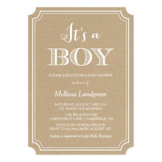 クラフト紙それは男の子のベビーシャワーの招待状です 12.7 X 17.8 インビテーションカード