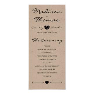 クラフト紙の素朴でロマンチックな結婚式プログラム カード