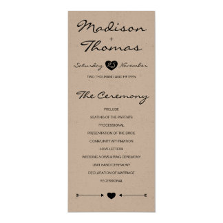 クラフト紙の素朴でロマンチックな結婚式プログラム 10.2 X 23.5 インビテーションカード