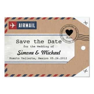 クラフト紙の航空郵便の荷物のラベルの保存日付 8.9 X 12.7 インビテーションカード