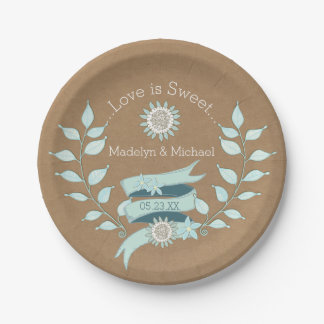 クラフト紙の青い花の結婚式の紙皿 ペーパープレート