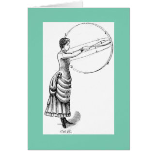 クラブを持つ女性! ヴィンテージ物理的な文化イメージ カード