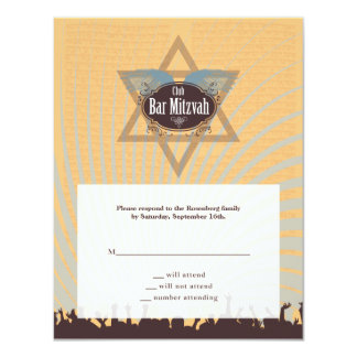 クラブバーの(ユダヤ教の)バル・ミツバーの応答カード カード