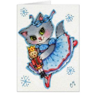 クララ-かわいいくるみ割りのクリスマス猫 カード